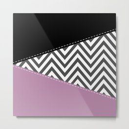 Zigzag Pattern, Chevron Pattern - Gray Purple Black Metal Print