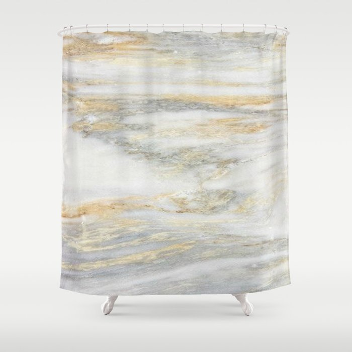 White Gold Marble Texture Shower Curtain