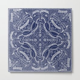 Doodles & Bits Lacy Blue Bandana Metal Print