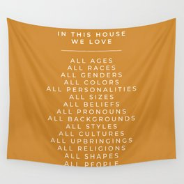In This House Diversity Acceptance Print - American English - Mustard Yellow Wall Tapestry