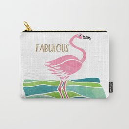 Sparkly Fabulous Watercolor Pink Flamingo Carry-All Pouch