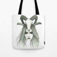 zodiac Tote Bags featuring Zodiac - Aries by Simona Borstnar