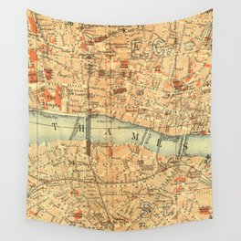 Vintage Map London South Bank Thames Wall Tapestry