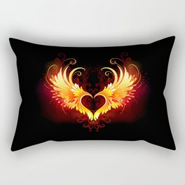 Angel Fire Heart with Wings Rectangular Pillow
