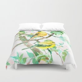 American Goldfinch and Apple Blossom Duvet Cover