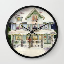 Christmas Eve Winter House Watercolor Wall Clock
