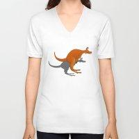 kangaroo V-neck T-shirts featuring Kangaroo by mailboxdisco
