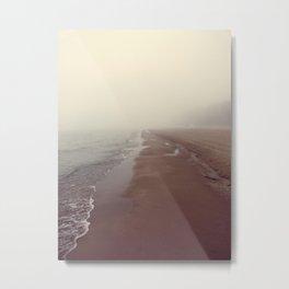 Lake Michigan Beach in Fog Color Photograph Metal Print