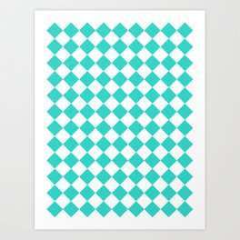 Diamonds - White and Turquoise Art Print