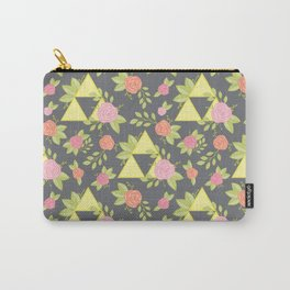 Garden of Power, Wisdom, and Courage Pattern in Grey Carry-All Pouch