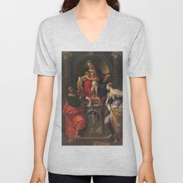 Annibale Carracci - Madonna and Child with Saints John the Baptist, John the Evangelist, and St Cath Unisex V-Neck