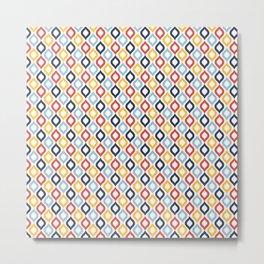 Geometric Blue and Coral Metal Print