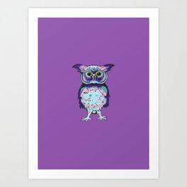 Small Purple Owl Art Print