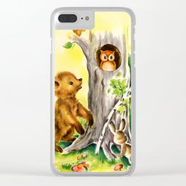 Woodland Animals & Owl's Tree Clear iPhone Case