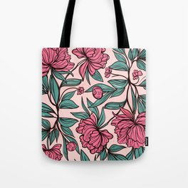 Background of hand drawn flowers and leaves Tote Bag