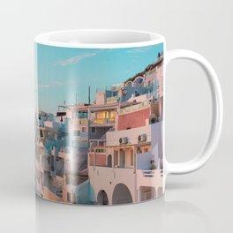 Romantic Sunset in Imerovigli Village on Santorini Island in Greece Coffee Mug