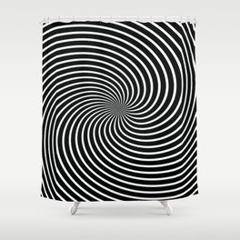BLACK LICORICE SWIRL Abstract Art Shower Curtain