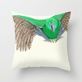Kakapo in flight Throw Pillow