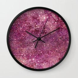 Modern chic faux glitter girly purple pattern Wall Clock