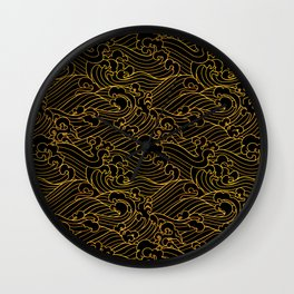 Golden Waves in Black Wall Clock