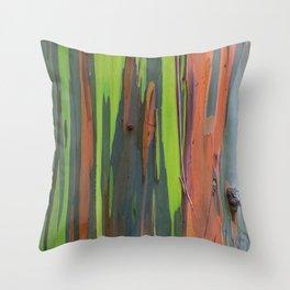 Rainbow Eucalyptus Abstract colorful Tree Bark Throw Pillow