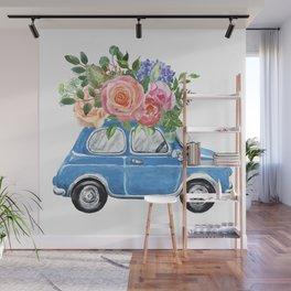 Watercolor Wedding Floral Car Vintage Retro blue car Flowers Pink Roses Wall Mural