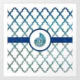 Seashell: Tropical Water Moroccan Pattern Art Print