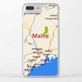 Map of Maine state, USA Clear iPhone Case