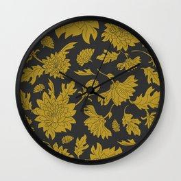 Hand drawn automnal flowers Wall Clock