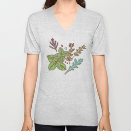dark herbs pattern Unisex V-Neck