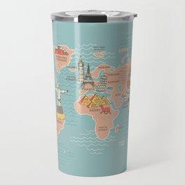 World Map Cartoon Style Travel Mug