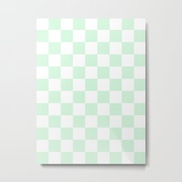 Checkered - White and Pastel Green Metal Print