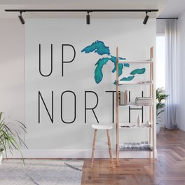 UP NORTH with watercolor great lakes Wall Mural