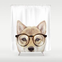 Shiba inu with glasses Dog illustration original painting print Shower Curtain