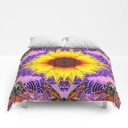 ABSTRACTED PURPLE-GOLD  SUNFLOWER ART Comforters