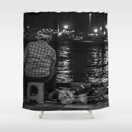 Fisherman in the night Shower Curtain
