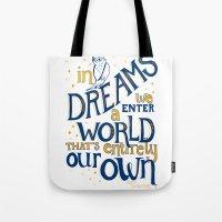 dumbledore Tote Bags featuring Albus Dumbledore by Nicola Davies