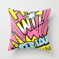 wiz khalifa Throw Pillows featuring Fizz Wiz! by Love Paint UK