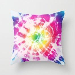 Tie-Dye Sunburst Rainbow Throw Pillow