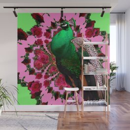 STATELY GREEN PEACOCK PINK-RED ROSES ABSTRACT Wall Mural