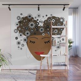 African American Flower Goddess Wall Mural