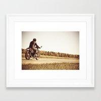 cafe racer Framed Art Prints featuring Vintage cafe racer motorcycle by gabyjalbert