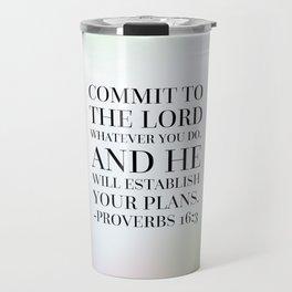Proverbs 16:3 Bible Quote Travel Mug