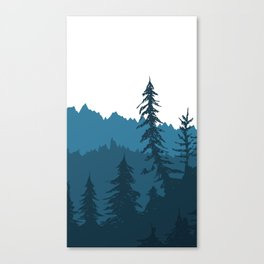 Tree Gradient Blue Canvas Print