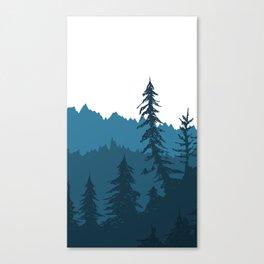 Tree Gradient Blue Canvas Print