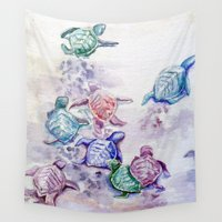 turtles Wall Tapestries featuring Baby Turtles by House of Mina