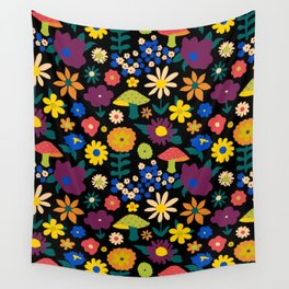 60's Country Mushroom Floral in Black Wall Tapestry