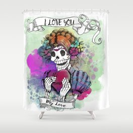 Day of the Dead Sugar Love Shower Curtain