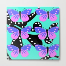 Butterfly delight aqua Metal Print