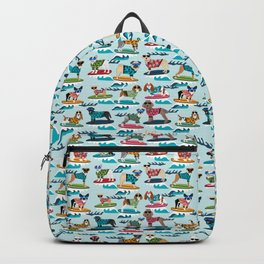 Surfing Dogs - cute summer tropical dogs surfing Backpack